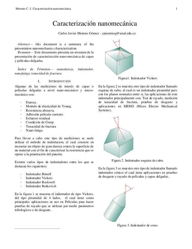 Caracterización nano-mecanica de películas delgadas