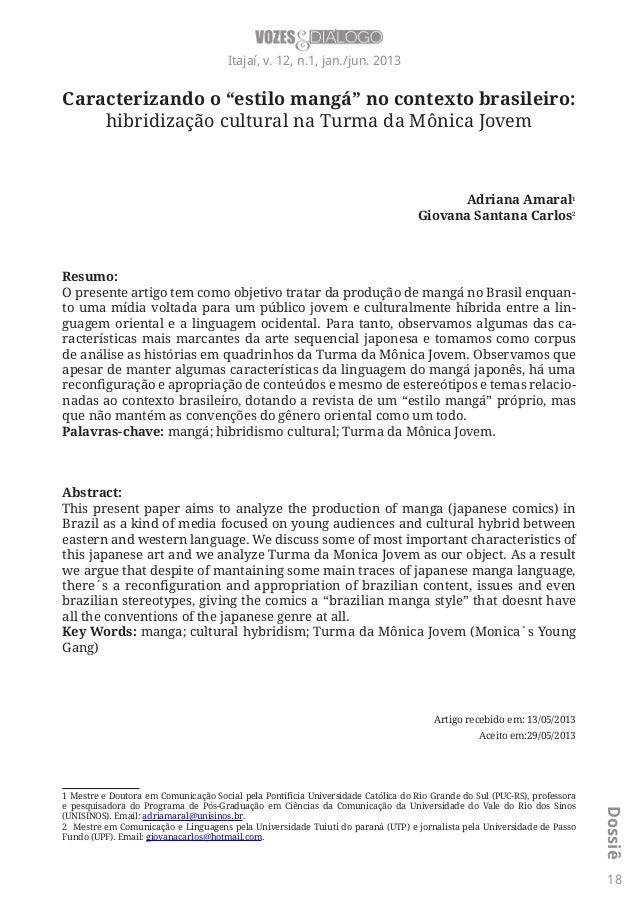 """Caracterizando o """"estilo mangá"""" no contexto brasileiro: hibridização cultural na Turma da Mônica Jovem"""
