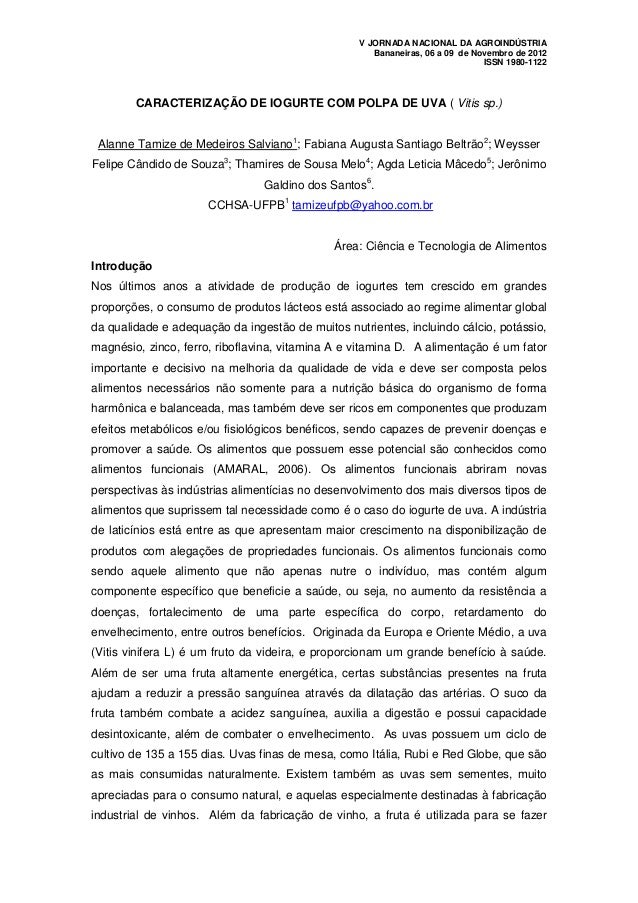 V JORNADA NACIONAL DA AGROINDÚSTRIA                                                     Bananeiras, 06 a 09 de Novembro de...