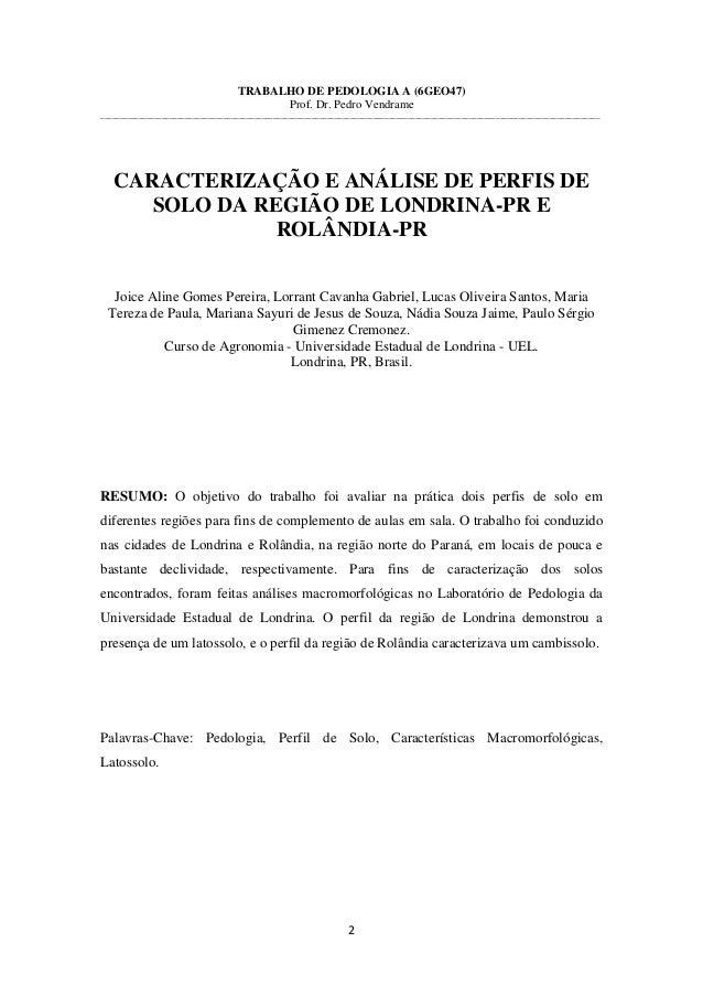 2 TRABALHO DE PEDOLOGIA A (6GEO47) Prof. Dr. Pedro Vendrame ______________________________________________________________...