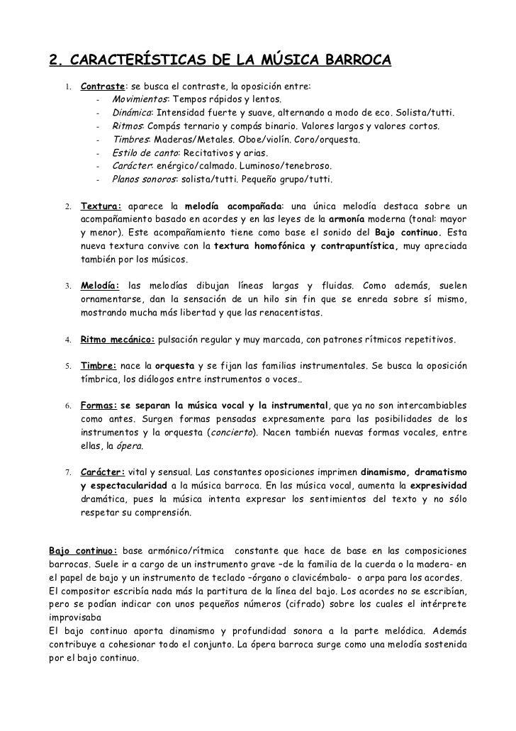 Características Barroco