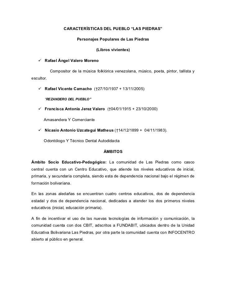 """CARACTERÍSTICAS DEL PUEBLO """"LAS PIEDRAS""""                          Personajes Populares de Las Piedras                     ..."""