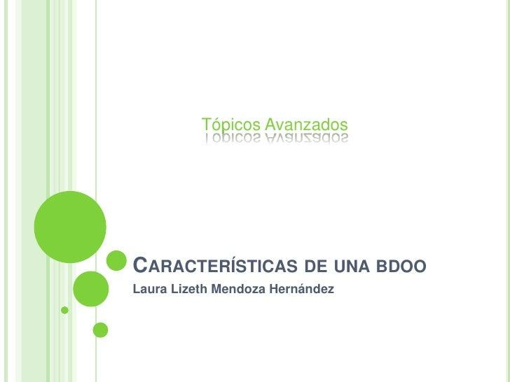 Características de una bdoo<br />Laura Lizeth Mendoza Hernández<br />Tópicos Avanzados<br />