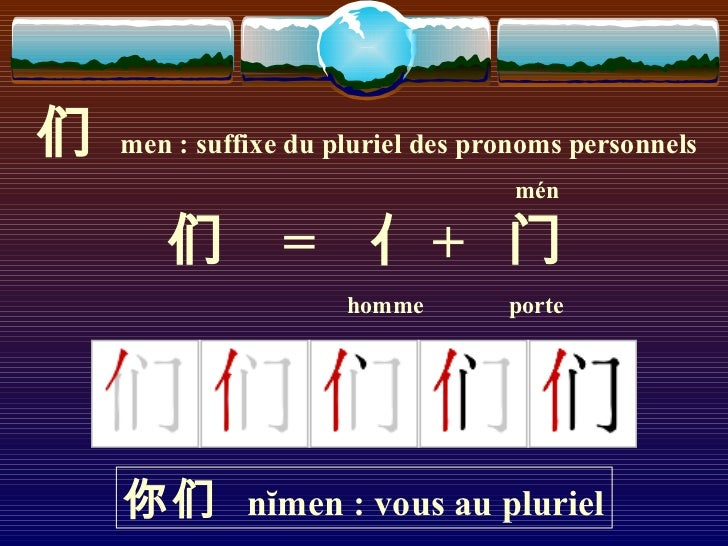 们   men : suffixe du pluriel des pronoms personnels                                    mén       们         = 亻+ 门         ...