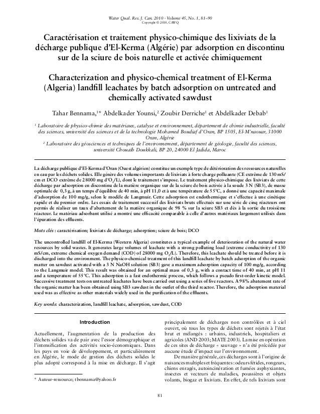 * Auteur-ressource; tbennama@yahoo.fr 81 Caractérisation et traitement physico-chimique des lixiviats de la décharge publi...