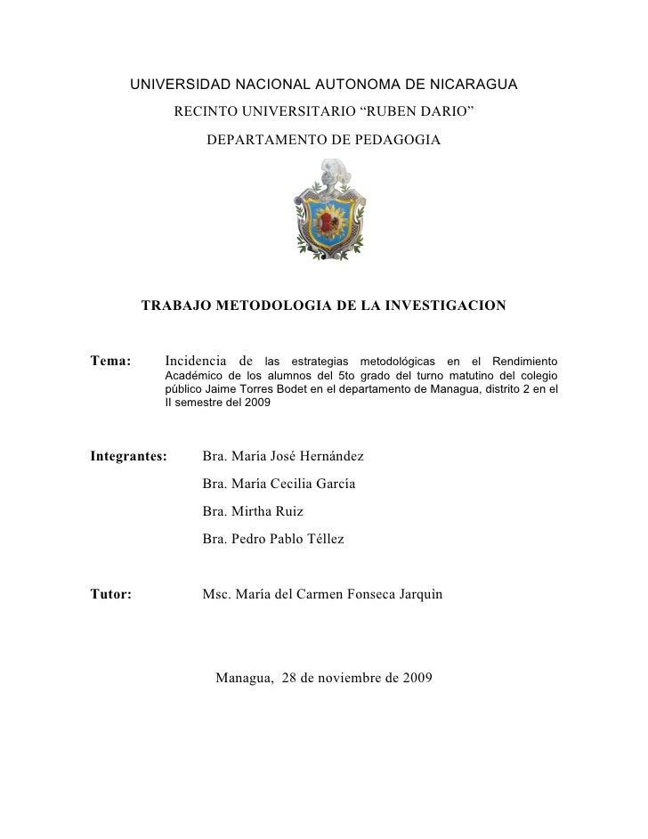 """UNIVERSIDAD NACIONAL AUTONOMA DE NICARAGUA               RECINTO UNIVERSITARIO """"RUBEN DARIO""""                  DEPARTAMENTO..."""
