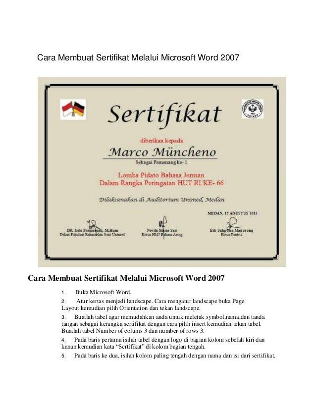 Cara membuat sertifikat melalui microsoft word 2007