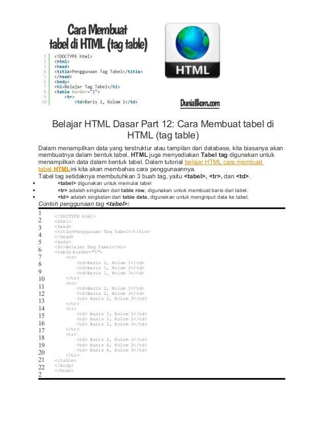 Belajar HTML Dasar Part 12: Cara Membuat tabel di HTML (tag table) Dalam menampilkan data yang terstruktur atau tampilan d...