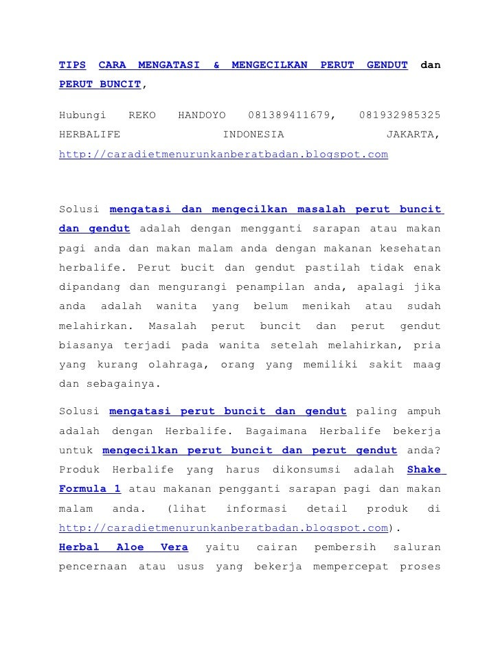 TIPS CARA MENGATASI & MENGECILKAN PERUT GENDUT dan PERUT BUNCIT,  Hubungi REKO HANDOYO 081389411679, 081932985325 HERBALIFE INDONESIA JAKARTA, http://caradietmenurunkanberatbadan.blogspot.com