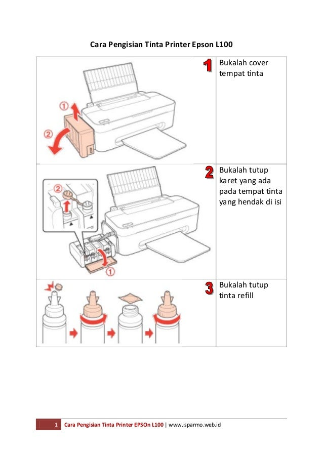 Cara pengisian tinta printer epson l100