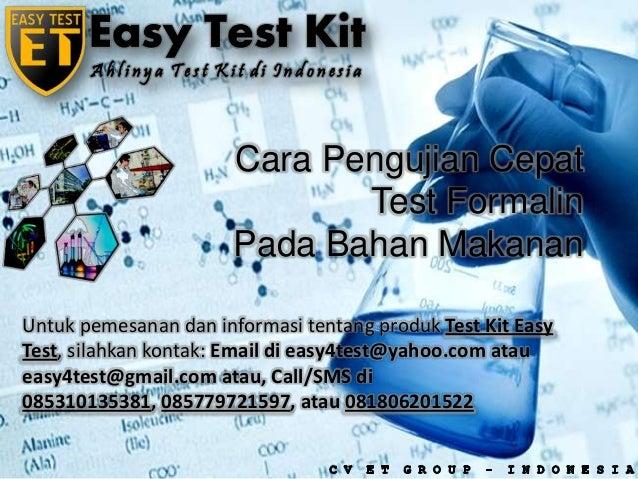 Cara pengujian cepat test formalin pada makanan dengan Test Kit Formalin Easy Test