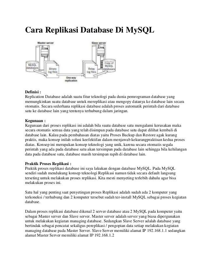 Cara Replikasi Database Di MySQLDefinisi :Replication Database adalah suatu fitur teknologi pada dunia pemrograman databas...