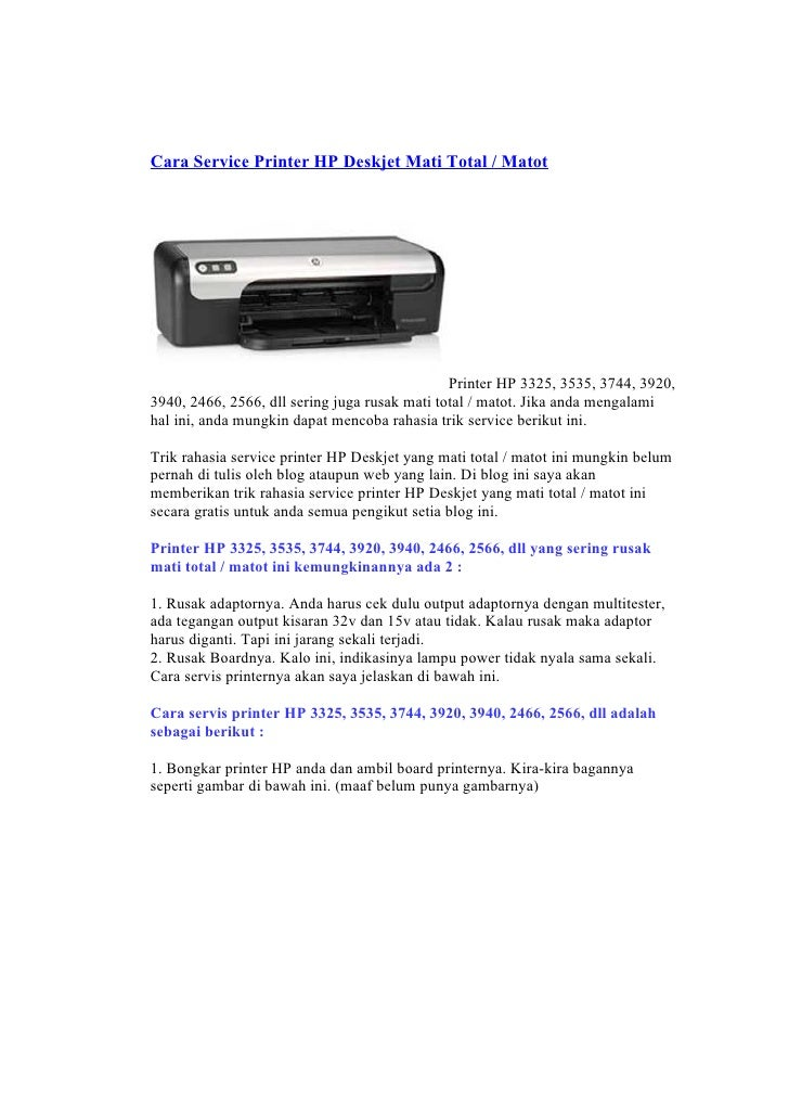 Cara Service Printer HP Deskjet Mati Total / Matot                                                    Printer HP 3325, 353...