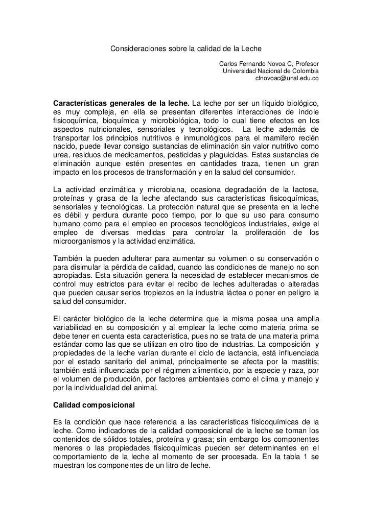 Consideraciones sobre la calidad de la Leche                                                 Carlos Fernando Novoa C, Prof...