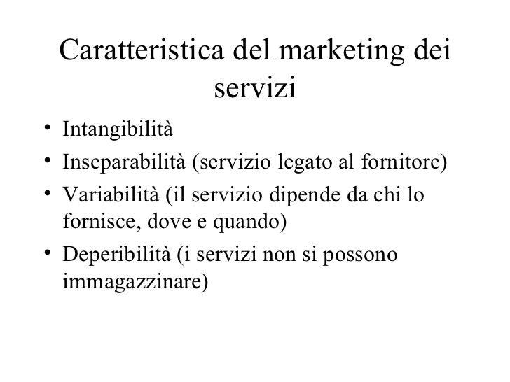 Caratteristica del marketing dei servizi