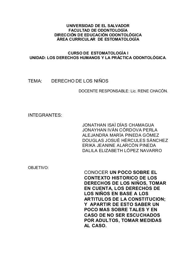 UNIVERSIDAD DE EL SALVADOR FACULTAD DE ODONTOLOGÍA DIRECCIÓN DE EDUCACIÓN ODONTOLÓGICA ÁREA CURRICULAR DE ESTOMATOLOGÍA CU...