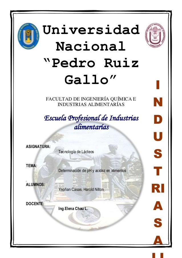 """Universidad Nacional """"Pedro Ruiz Gallo"""" FACULTAD DE INGENIERÍA QUÍMICA E INDUSTRIAS ALIMENTARÍAS  Escuela Profesional de I..."""
