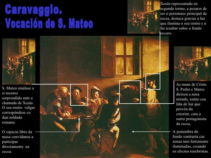 Caravaggio. Vocación de S. Mateo S. Mateo sinálase a si mesmo sorprendido ante a chamada de Xesús. O seu rostro  vulgar co...