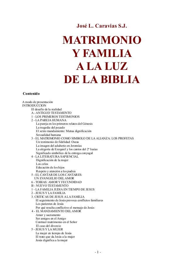 Matrimonio Segun La Biblia : José luis caravias matrimonio y familia a la luz de biblia
