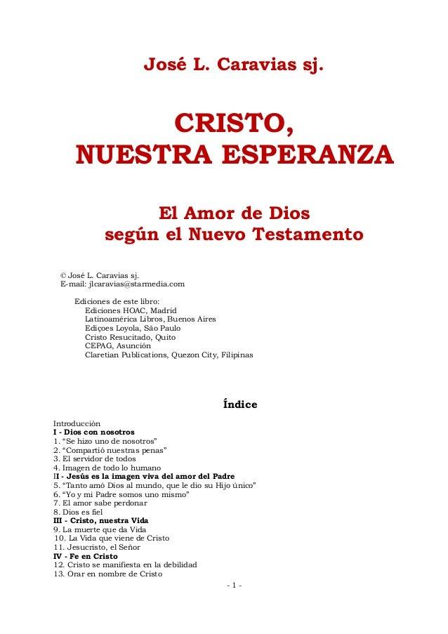 José Luis Caravias. Cristo nuestra esperanza