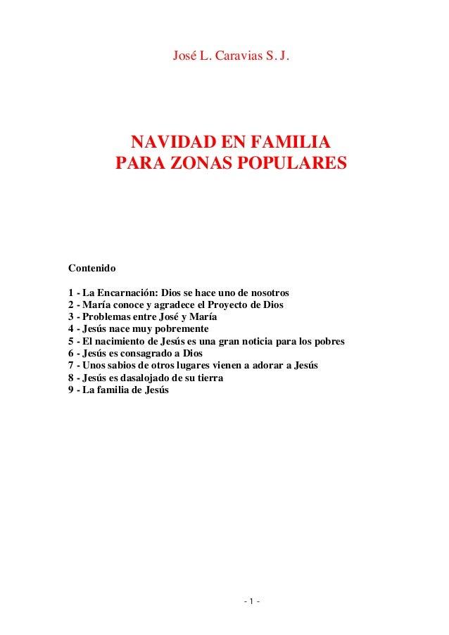 José Luis Caravias, sj. Navidad en familia para zonas populares