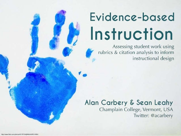 Evidence-based instruction: assessing student work using rubrics and citation analysis to inform instructional design - Alan Carbery & Sean Leahy