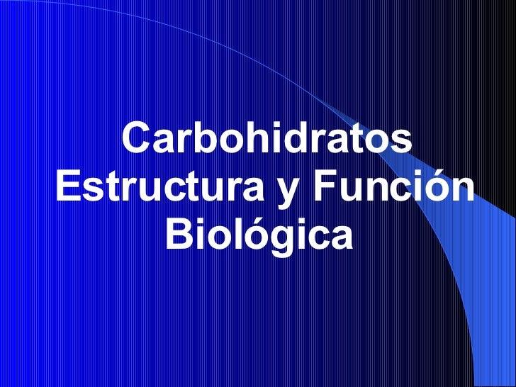 Carbohidratos Estructura y Función Biológica