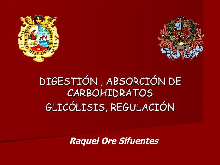 DIGESTIÓN , ABSORCIÓN DE CARBOHIDRATOS GLICÓLISIS, REGULACIÓN Raquel Ore Sifuentes
