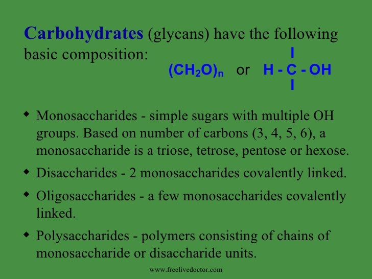 <ul><li>Monosaccharides - simple sugars with multiple OH groups. Based on number of carbons (3, 4, 5, 6), a monosaccharide...