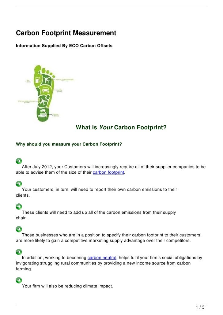 Carbon Footprint MeasurementInformation Supplied By ECO Carbon Offsets                               What is Your Carbon F...