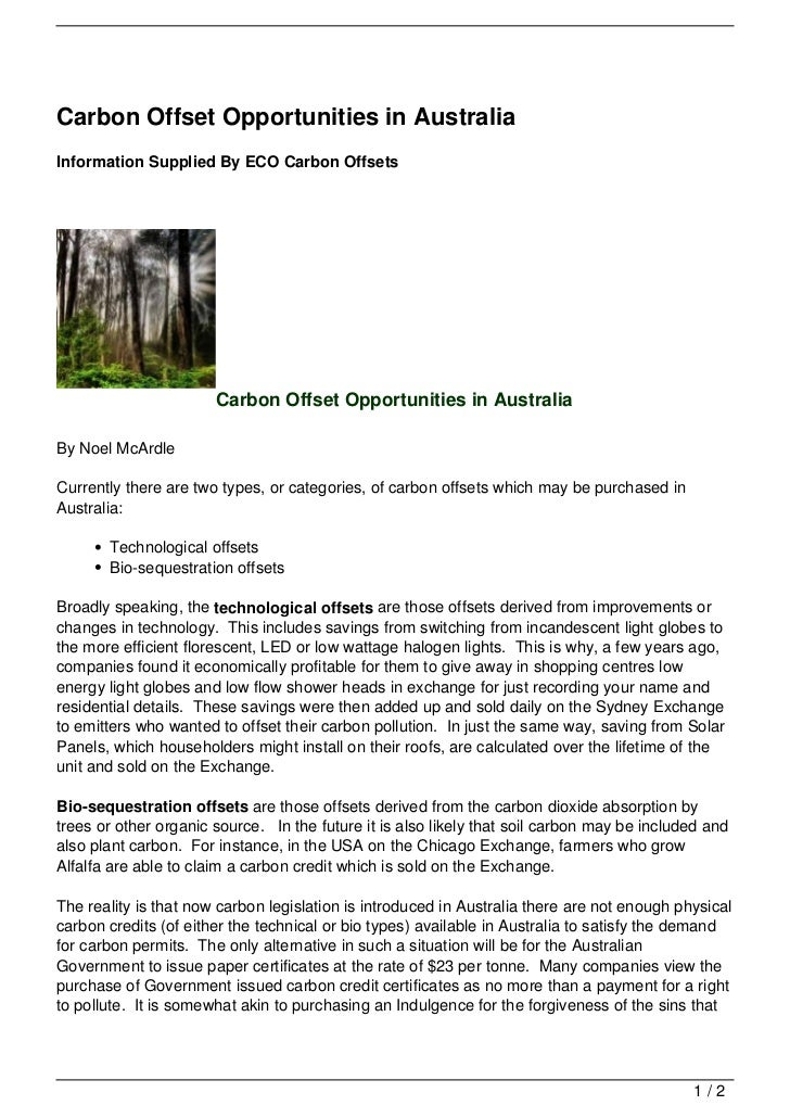 Carbon Offset Opportunities in AustraliaInformation Supplied By ECO Carbon Offsets                       Carbon Offset Opp...