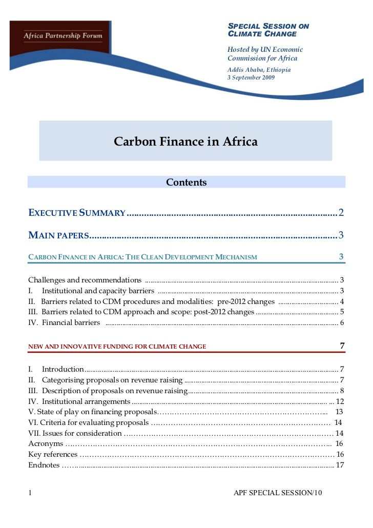 Carbon Finance in Africa