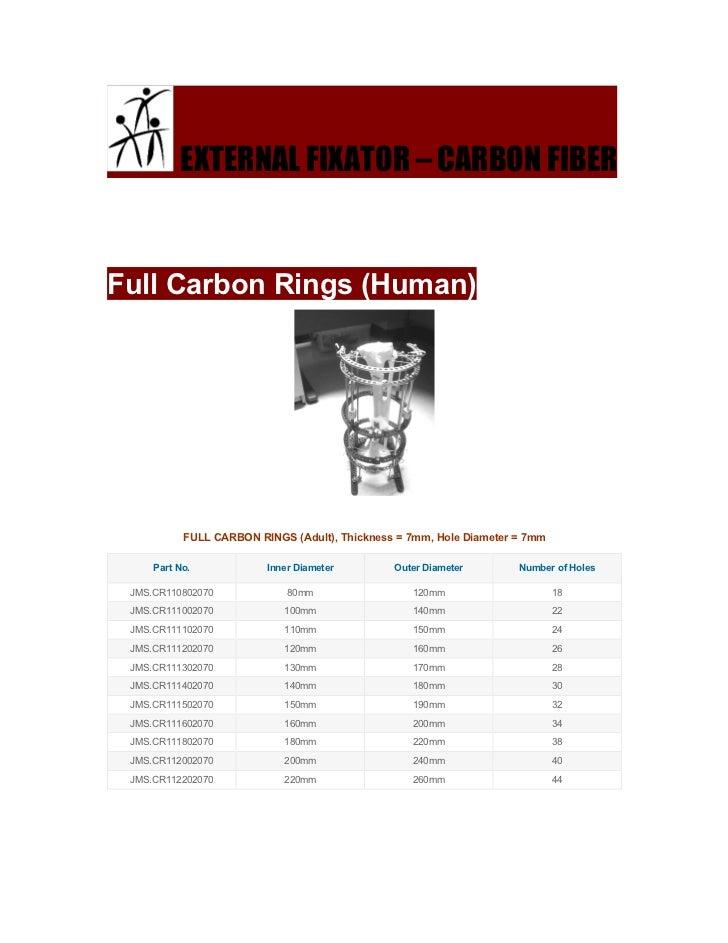 EXTERNAL FIXATOR – CARBON FIBERFull Carbon Rings (Human)           FULL CARBON RINGS (Adult), Thickness = 7mm, Hole Diamet...