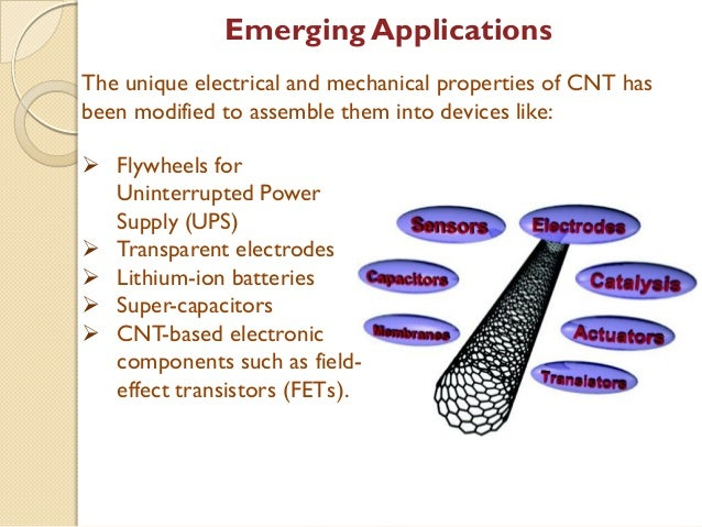 application of carbon nanotubes Properties of carbon nanotubes - electrical conductivity, strength and elasticity, thermal conductivity and expansion.