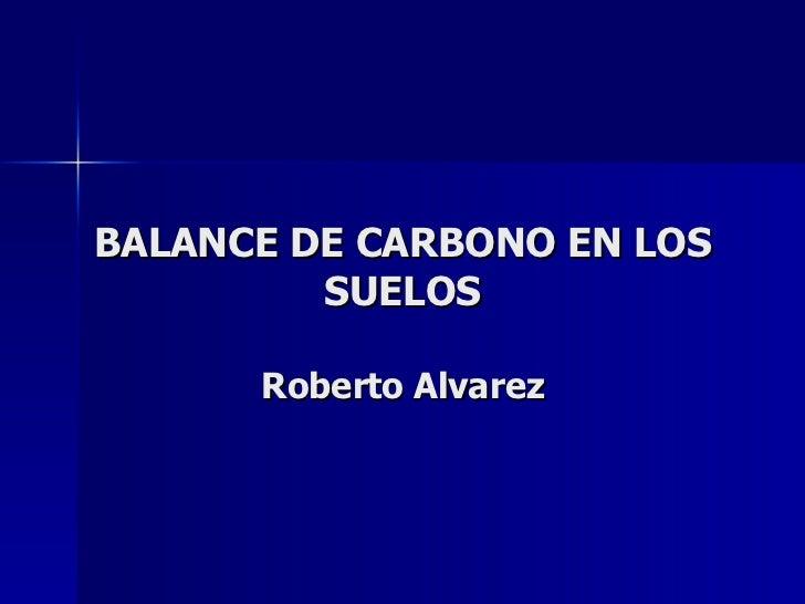 BALANCE DE CARBONO EN LOS SUELOS Roberto Alvarez