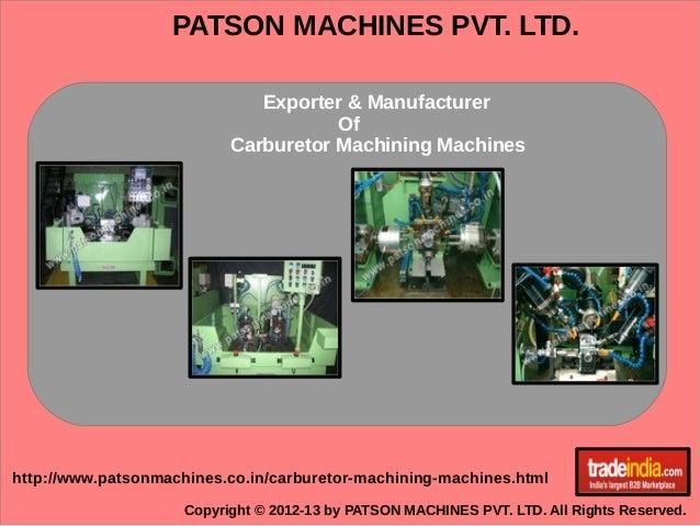 Carburetor Machining Machines Exporter, Manufacturer, Pune