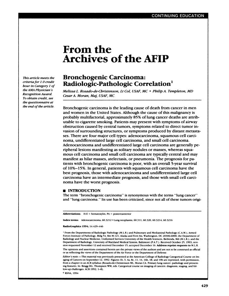 From the                             Archives of the AFIP This article meets the      Bronchogemc                         ...