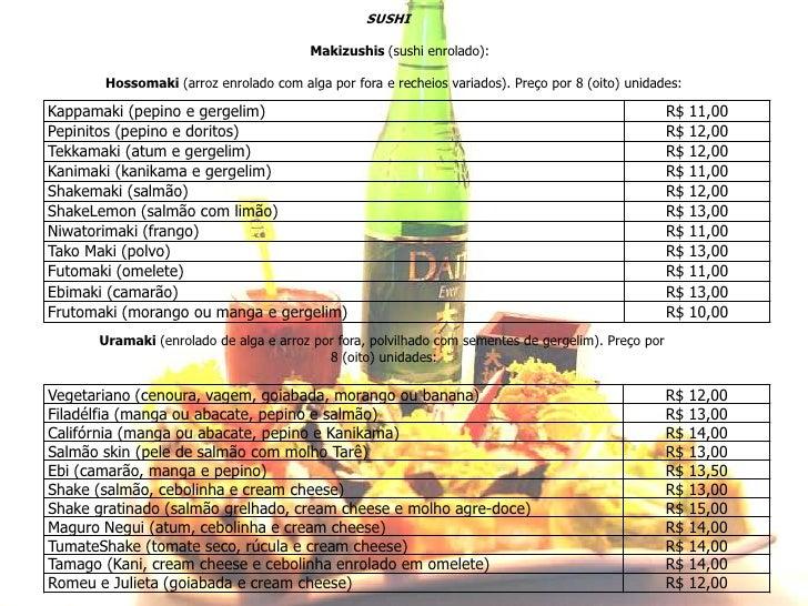 SUSHIMakizushis(sushi enrolado):Hossomaki(arroz enrolado com alga por fora e recheios variados). Preço por 8 (oito) unida...