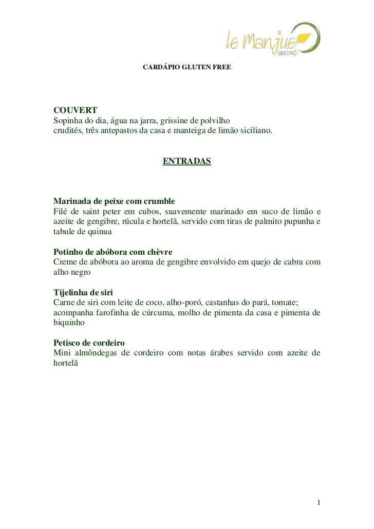 Cardápio Gluten Free Le Manjue Bistrô