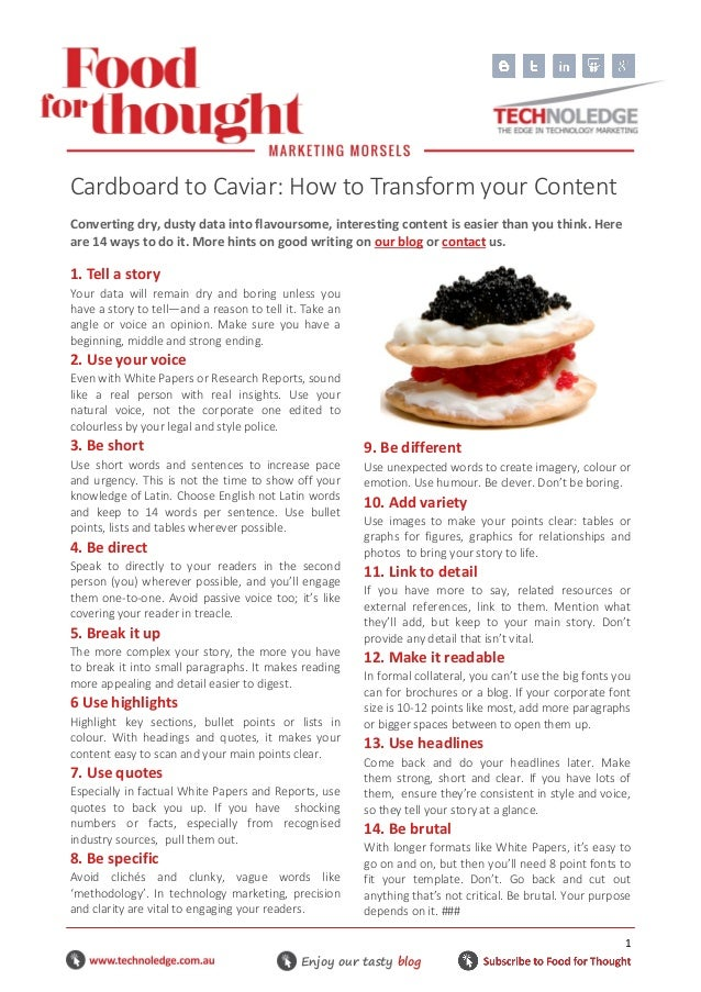 Cardboard to Caviar - How to Transform Your Content