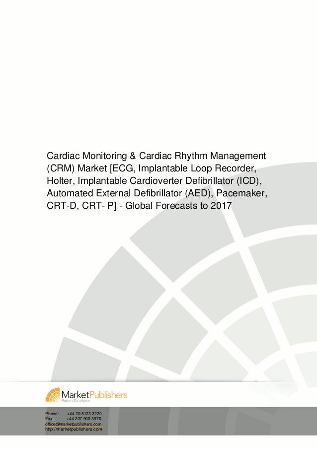 Cardiac Monitoring & Cardiac Rhythm Management(CRM) Market [ECG, Implantable Loop Recorder,Holter, Implantable Cardioverte...