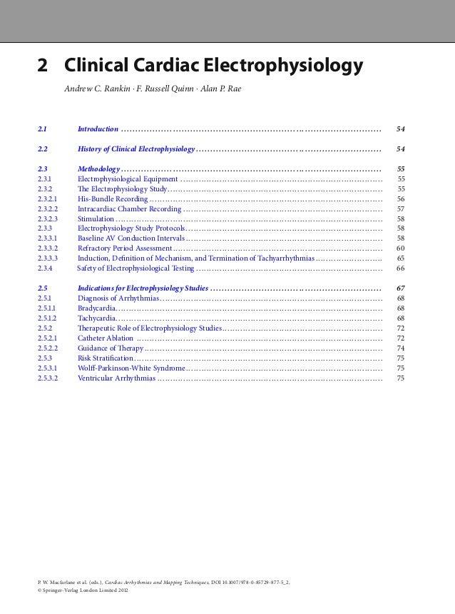  Clinical Cardiac ElectrophysiologyAndrew C. Rankin ⋅ F. Russell Quinn ⋅ Alan P. Rae. Introduction .......................