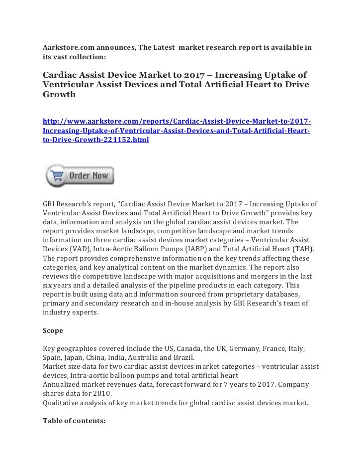 Aarkstore.com announces, The Latest market research report is available inits vast collection:Cardiac Assist Device Market...