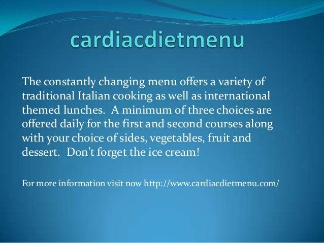 Cardiac diet menu