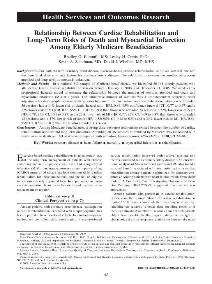 Cardiac rehab 2010 study