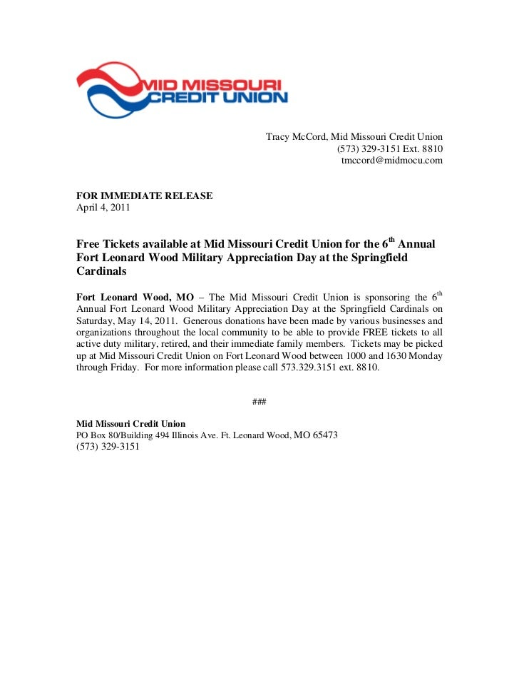 Tracy McCord, Mid Missouri Credit Union                                                            (573) 329-3151 Ext. 881...