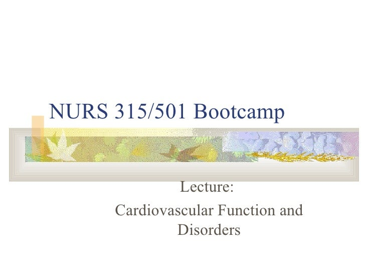 NURS 315/501 Bootcamp Lecture:  Cardiovascular Function and Disorders
