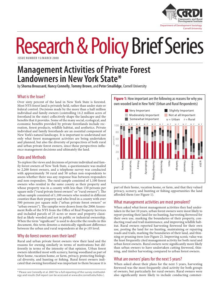 Management Activities of Private Forest Landonwers in New York State