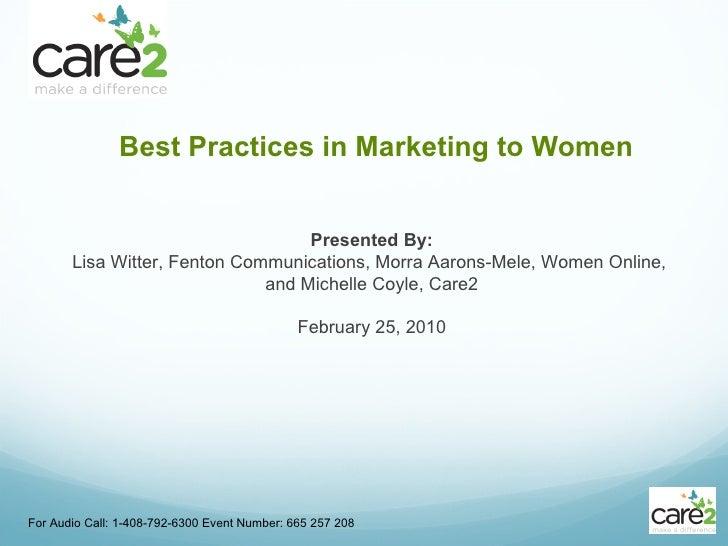 Best Practices in Marketing to Women