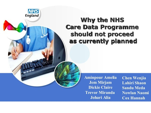 Why the NHS Care Data Programme should not proceed as currently planned  Aminpour Amelia Jem Mirjam Dickie Claire Trevor M...